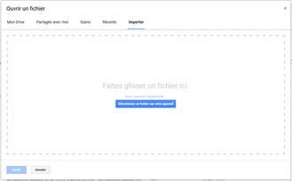 Zone d'import de fichier Google Sheets