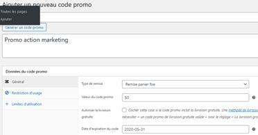 Formulaire création d'un code promo