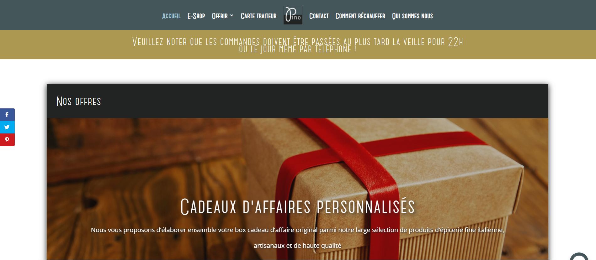 Page d'accueil d'un site wordpress