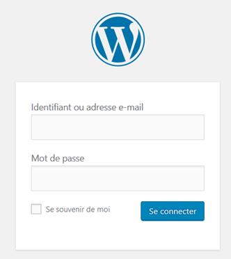 Interface de connexion à l'administration WordPress