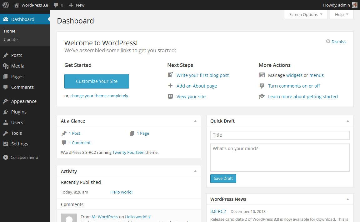 Dashboard de l'administration de wordpress